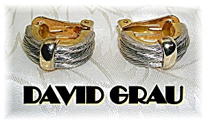 Silver & Goldtone David Grau Clip Earrings. (Image1)