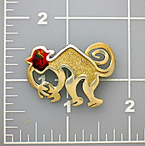 Sterling Silver & Enamel Monkey Animal Brooch