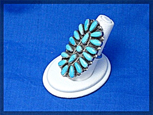 Native American Turquoise Sterling Silver Ring P. JONES (Image1)
