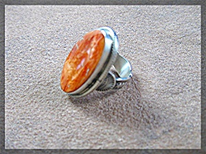 Ring Orange Spiny Oyster Sterling Silver Joe Tenorio