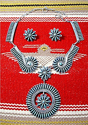 Sterling Silver Turquoise ZUNI  Needlepoint Necklace JC (Image1)