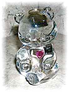 FENTON CLEAR GLASS BEAR WITH HEART (Image1)