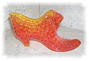HOBNAIL GLASS SLIPPER AMBERINA ORANGE (Image1)