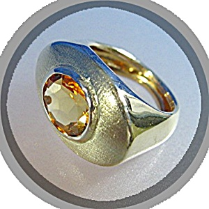Ring 14K Gold and 2 CT Golden Citrine  Italy (Image1)