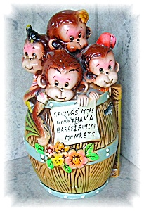 BANK - VINTAGE BARREL FULL OF MONKEYS BANK . . . . (Image1)