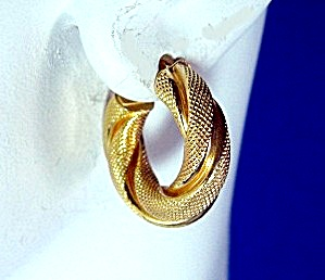 Earrings 14K Gold Twist Pierced Hoop  Italy Designer (Image1)