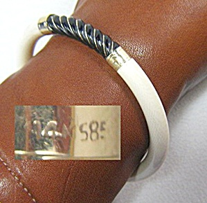 14K Gold Bone IVORY Onyx Bangle Bracelet  (Image1)
