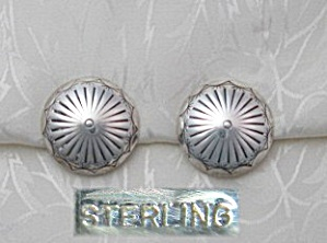 Sterling Silver American Indian Concho Clip Earrings (Image1)