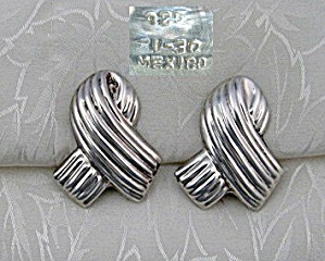 Sterling Silver Taxco Mexico  Clip Earrings TV-30 (Image1)