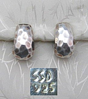 Sterling Silver Clip Earrings Signed SSD (Image1)