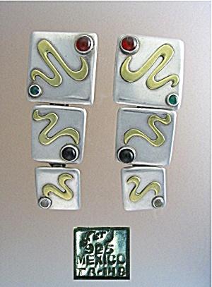 Taxco Mexico TA-148  Clip Earrings Cabochon Stone Geri (Image1)