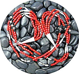 Native American Coral Onyx Beads 4 Strand Sterling Silv