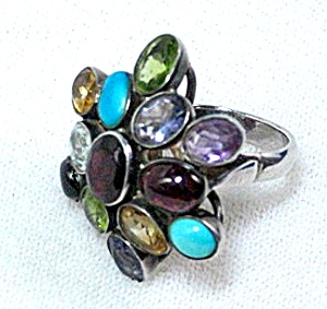 Amethyst Peridot turquoise Citrine Topaz Sterling Silve (Image1)