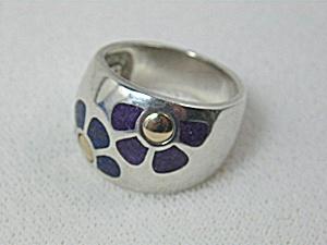 Ring 14K Gold Sterling Silver Lapis Sugilite Enamel Dom (Image1)