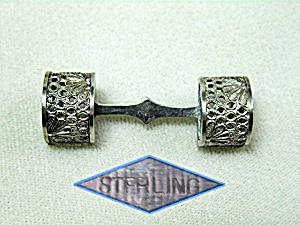Victorian Antique Corage Holder Sterling Silver Brooch (Image1)