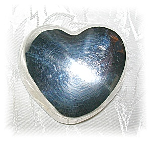 Pendant Sterling Silver Heart Taxco Mexico TJ-24 (Image1)