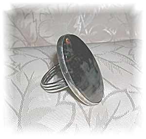 Vintage Sterling Silver Agate Ring