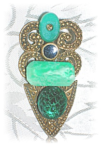 Unique Pin Brooch In Adventurine