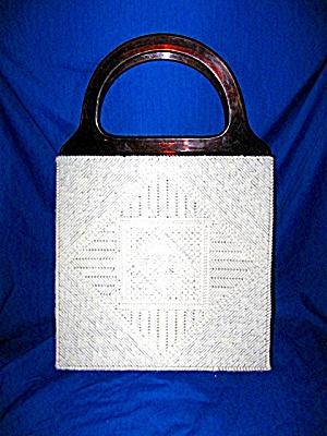 Lucite Vintage Hand stitched White Yarn Handbag (Image1)
