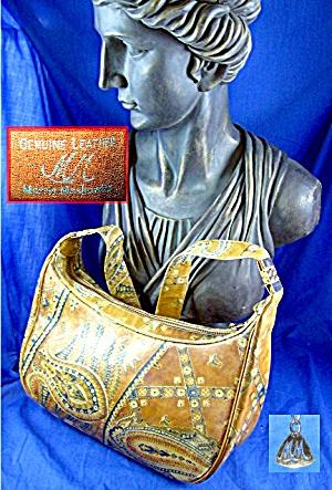 Morris Moskowitz Vintage  Leather Paisley Handbag (Image1)