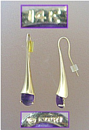 JAMES AVERY 14K Gold Amethyst Drop Loop Earrings  (Image1)