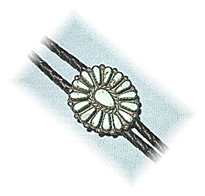 Superb Sterling Silver & Turquoise Bolo Tie (Image1)