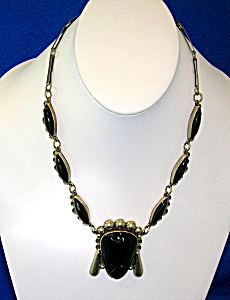 Mexico Vintage Sterling Silver & Onyx Face Necklace (Image1)