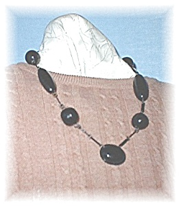Antique Black Plastic Celluloid Necklace (Image1)