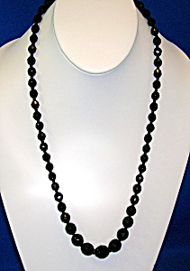 Black  Glass 24 Inch Graduated Necklace (Image1)