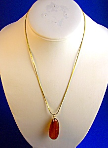 Beautiful Faceted Honey Color Amber Pendant