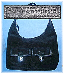Black Suede Leather Banana Rupublic Bag