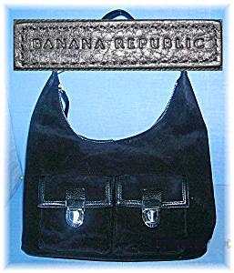 Black Suede Leather Banana Rupublic Bag (Image1)