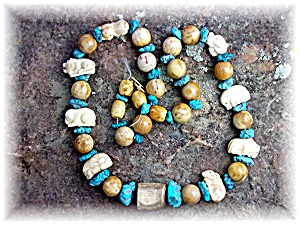 Necklace Turquoise Carved Bone Petrified Palm Beads