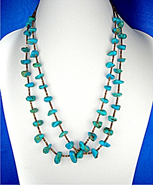 Native AmericanTurquoise and Heishi 2 Strand Necklace (Image1)