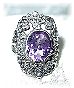 Amethyst Sterling Silver & Marquisite Ring . . . . . . (Image1)