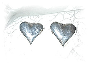 Taxco  Sterling Silver Heart Earrings Post Mexico (Image1)