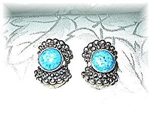 Sterling Silver & Turquoise Glass Clip Earrings