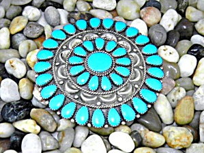 Native American Sterling Silver Turquoise Brooch Dlw