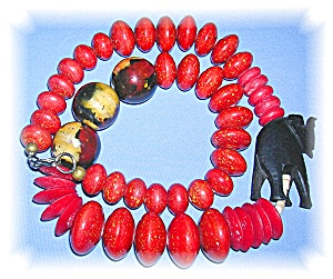 African Necklace, Beads And Elepha Nt........