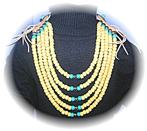 Tan Suede Corn & Turquoise Glass Beads......