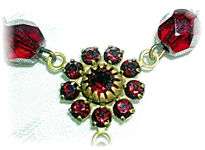 Ruby Crystal Flower Necklace .............