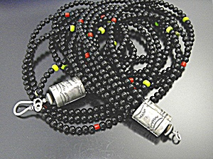 Necklace Black Onyx Coral Green Turquoise Sterling Silv (Image1)