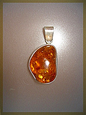 Pendant Amber Sterling Silver Bugs Leaves