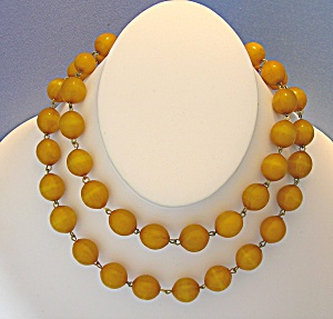 Bakelite Amber Color  Chain Link Necklace 30 Inch (Image1)