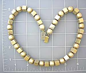 Sterling Silver Mexico Round and Square bead Necklace (Image1)
