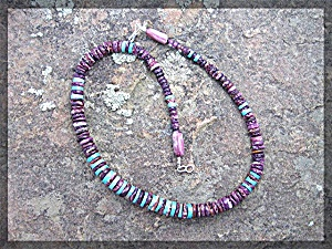 Necklace Purple Spiny Oyster Turquoise Sterling Hook Cl