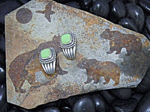 Native American Gaspeite Sterling Silver Clip Earrings