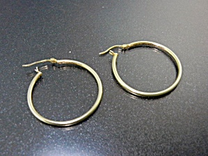 Sterling Silver Gold Vermeil Hoop Earrings Pierced (Image1)