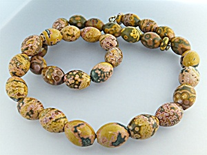 Necklace Gold Green Jasper Beads 23 Inch (Image1)