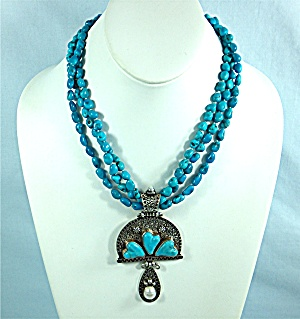 Necklace Sleeping Beauty Hearts Turquoise Pearls By Gun